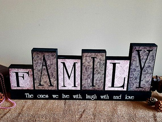 Personalized Family Gift Ideas For Christmas - Decorative Wooden Blocks - Handmade In Canada - Gifts for New Home - Mantle Decoration