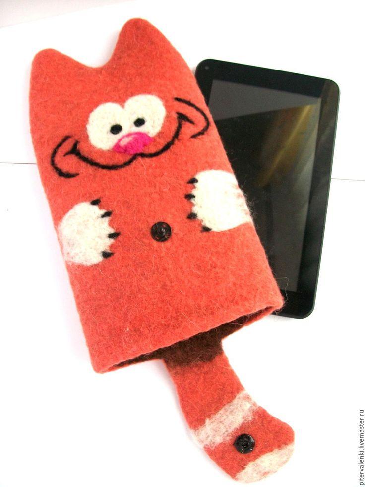 """Купить Чехол для планшета, электронной книги валяный """"Кот Гарфилд"""" - рыжий, кот, чехол, для планшета"""
