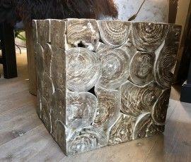 Kubus Hout Brown Wash, 40x40x40