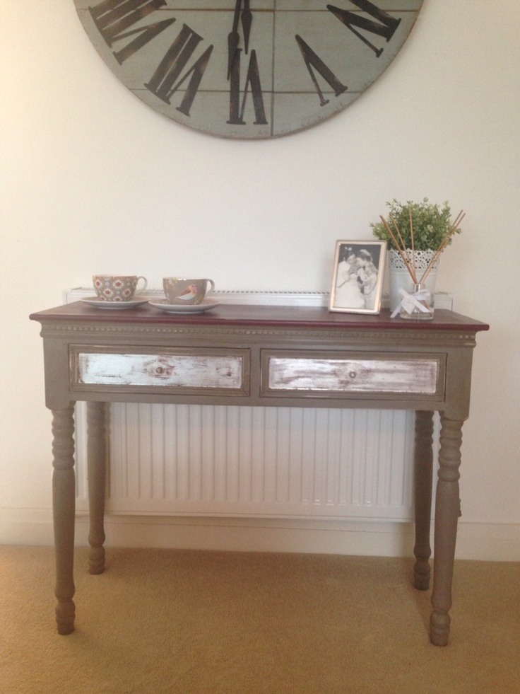 console table finished in annie sloan french linen and burgundy with silver leaf guilding. Black Bedroom Furniture Sets. Home Design Ideas