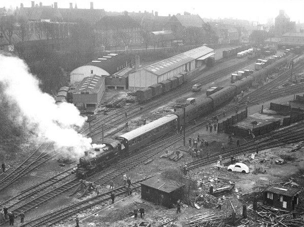 Photo:Kemp town Station and yard - 22 March 1964 - with a visiting 'Rail Enthusiasts Special'. Brighton College can be seen lying behind Sutherland Road. Click on the image to see a full-sized version