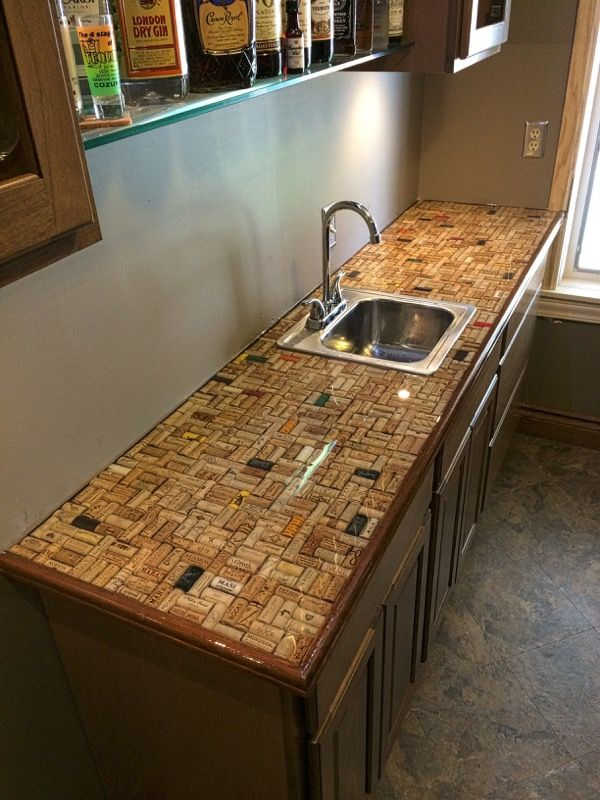 Cork countertop covered with ultra clear epoxy bars Cork countertops