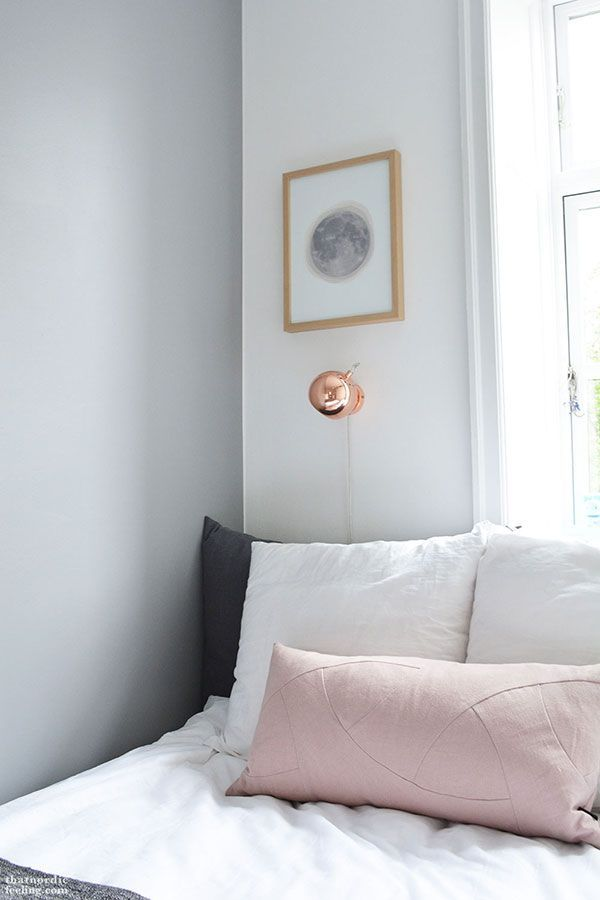 Grey feature wall in bedroom l Copper light l White, Grey and Copper Bedroom