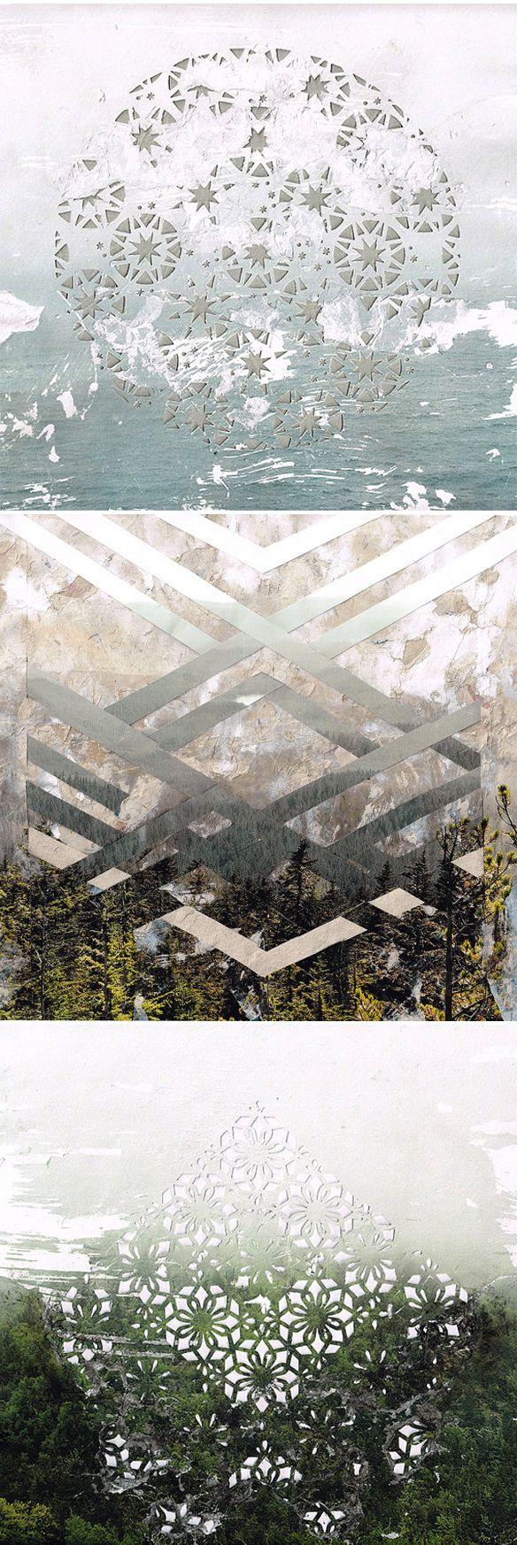 elise wehle - paper cutting/mixed media {landscapes}