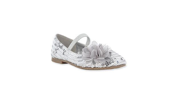 """Silver Ballet Shoe. """"Little girls with an eye for sparkles will adore these shimmering sequined pumps."""""""