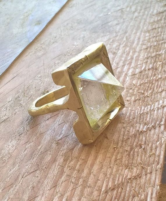 Pyramid ring crystal quartz and brass US size 8.5 by RingTheRing