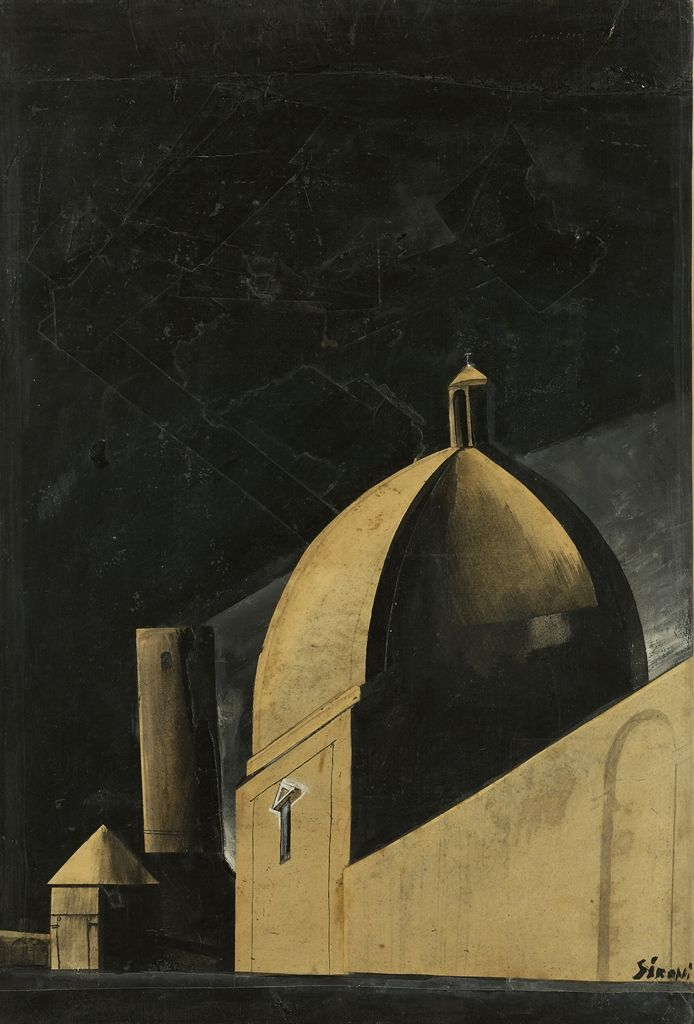 Mario Sironi (Italian, 1885-1961), Chiesa in periferia o la Cattedrale [Church in the Suburbs, or The Cathedral], first half of the 1920s. Oil, ink, pencil and collage on paper mounted on canvas, 60.4 x 40.8 cm.