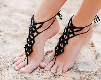 Menta Emerald Crochet a piedi nudi sandali sandali di BarmineClub