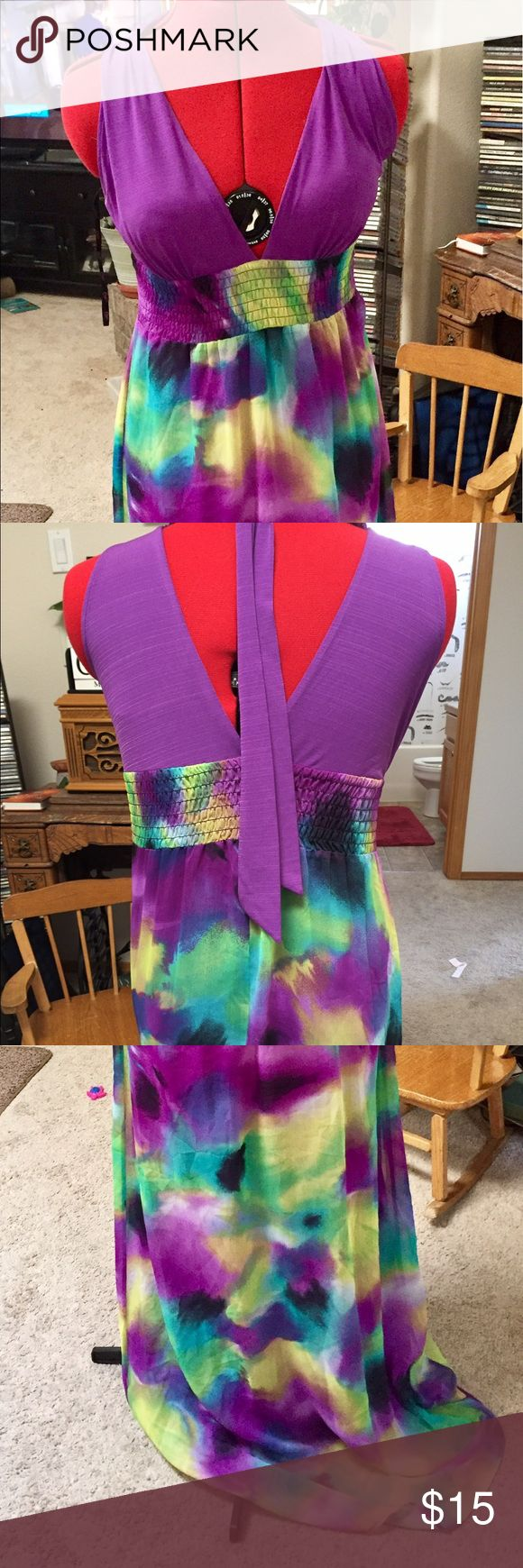 Candies Maxi Dress Candies fun maxi dress size medium   The halter top is purple and the skirt is multi Candie's Dresses Maxi