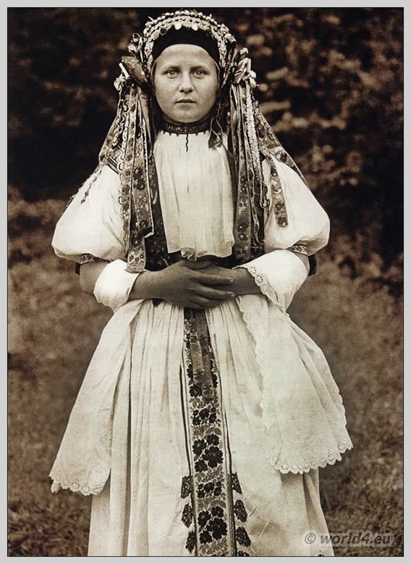 Bride in traditional wedding costume from Bošáca Slovakia