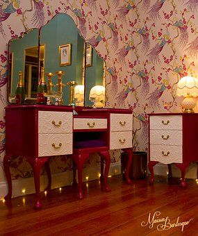 Maison Burlesque | Burlesque Boudoir and Studio based in Melbourne, Australia. Refurbished Queen Anne Vintage Dressing Table. Peacock Wallpaper.