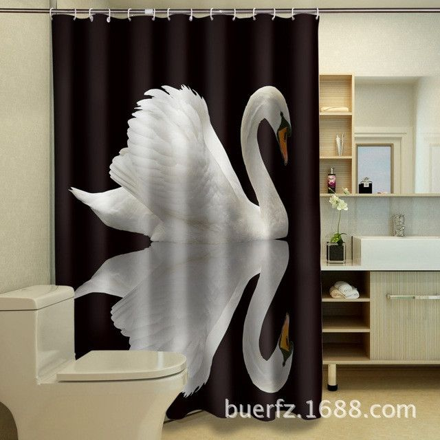 Waterproof polyester shower curtains art swan 3D shower curtain black shower curtains unique shower curtain for bathroom