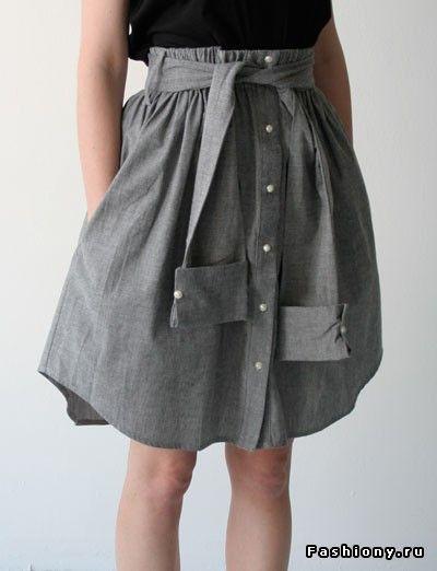 Переделки: юбки самых разных стилей из мужских рубашек