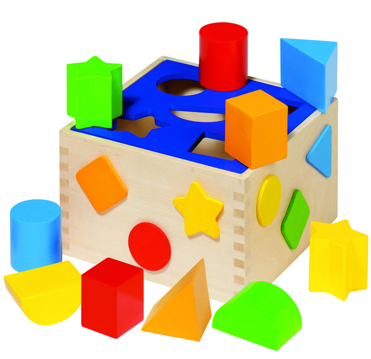 Natural and high quality toys to the development of the skills of children. Sort box blue, 10 pieces