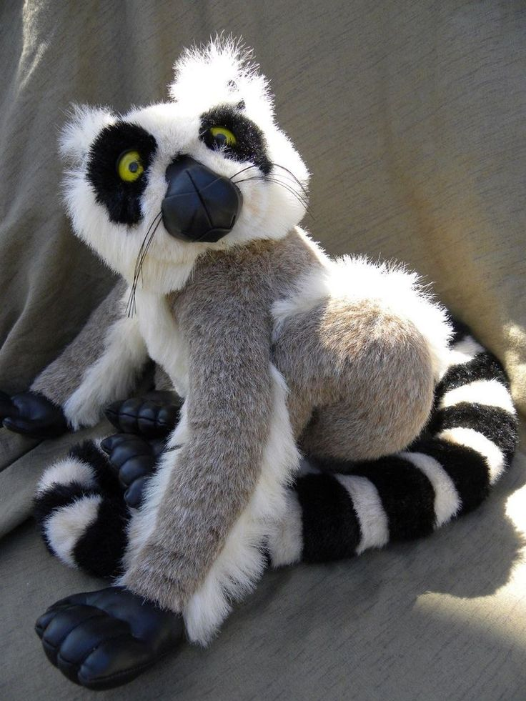 Discovery Channel Ring Tailed Lemur Plush Soft Toy Stuffed Realistic 1999 Large #DiscoveryChannel #Ringtailedlemur