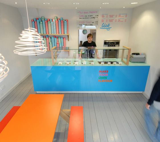 Lick, a gorgeously simplistic ice cream shop in Brighton. They have a logo and super happy color palate. #RetailDesign #IceCream
