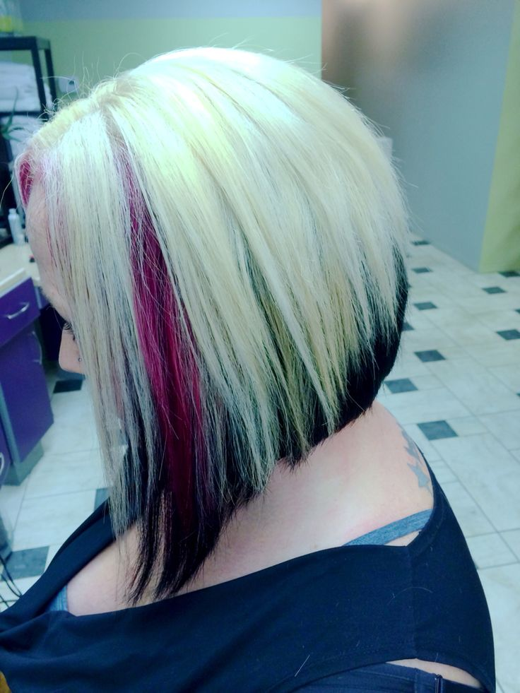 Platinum Blond With Dark Brown Underneath And Pink Panels Diagonal Forward Haircut