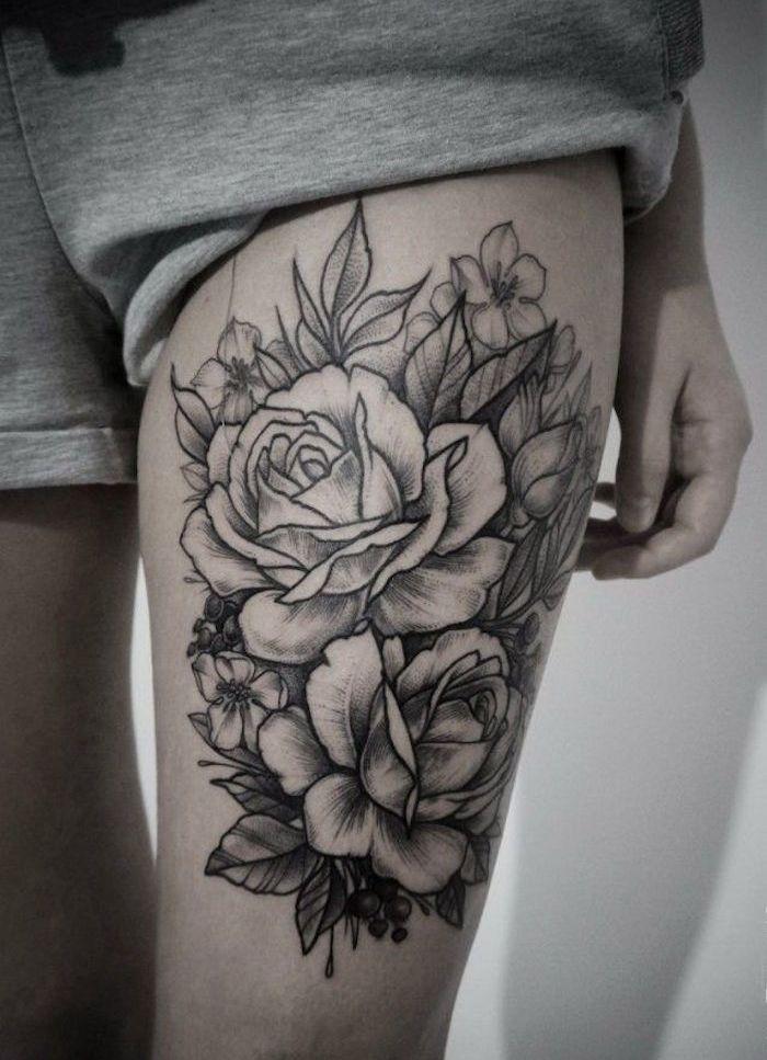 tattoo cuisse – 48 tatouages de caractère (tatouage roses cuisse