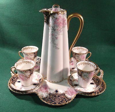 ★ Fabulous Haviland Limoges RARE Chocolate Pot Set Tray Cup Saucer Coffee Tea★ | eBay