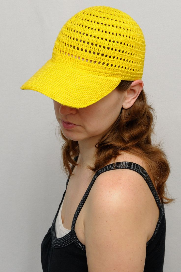 Yellow cap visor – Adult cap – Crochet cap – Crochet cap – Summer cap – Sun hat …