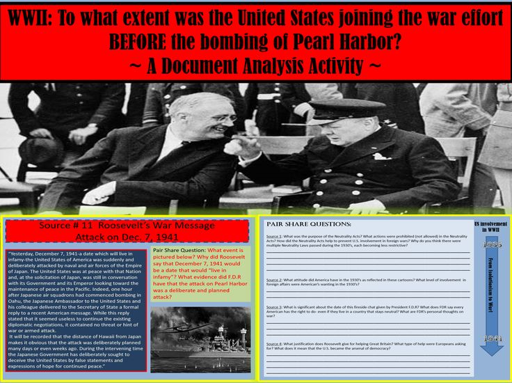 "19 slide power-point (3 student worksheets and STEP BY STEP Teacher Directions Included), you will have everything you need to conduct a lesson on the progression of U.S. involvement in WWII.(i.e. the Neutrality Acts, FDR speeches and Fireside Chats, Four Freedom Speech and more...) At the conclusion of this lesson your students will be able to answer the following question, using primary source evidence: ""To what extent was the U.S. involved in WWII BEFORE the bombing of Pearl Harbor?"""