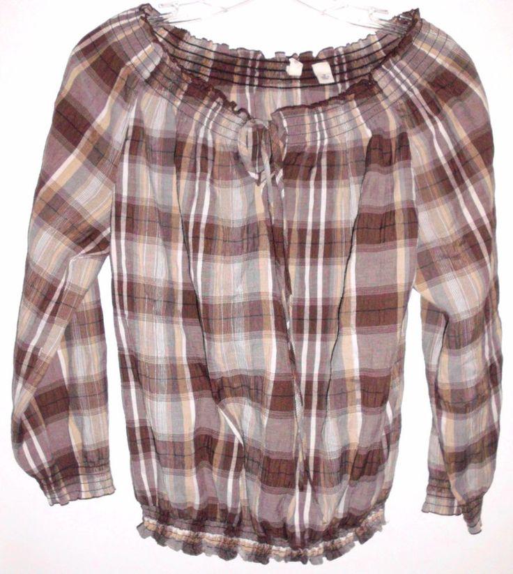 ST. JOHN'S BAY Brown Plaid Stretch Pheasant Boho Shirt Top Sz M Women's EUC #StJohnsBay #Pullover #Casual