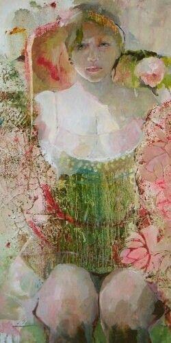 Melanger fleurs et fruits du fond de la fresque dans la robe