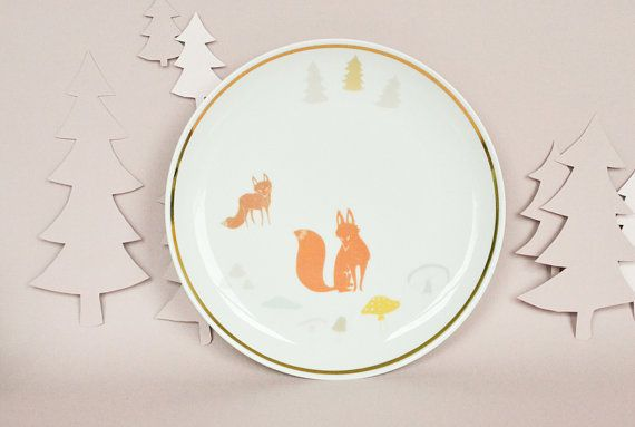 Plate with a two foxes and toadstools by StudioRobinPieterse, $32.00