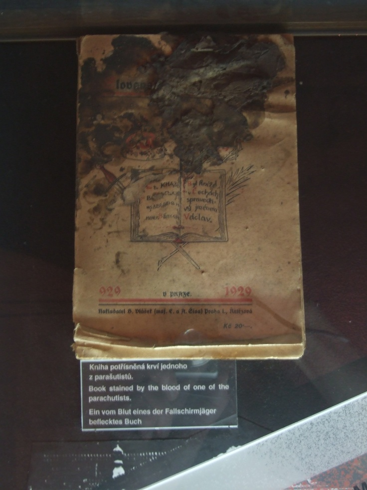 Blood-stained book found in the crypt of Sts. Cyril & Methodious after the battle on 18 June 1942.