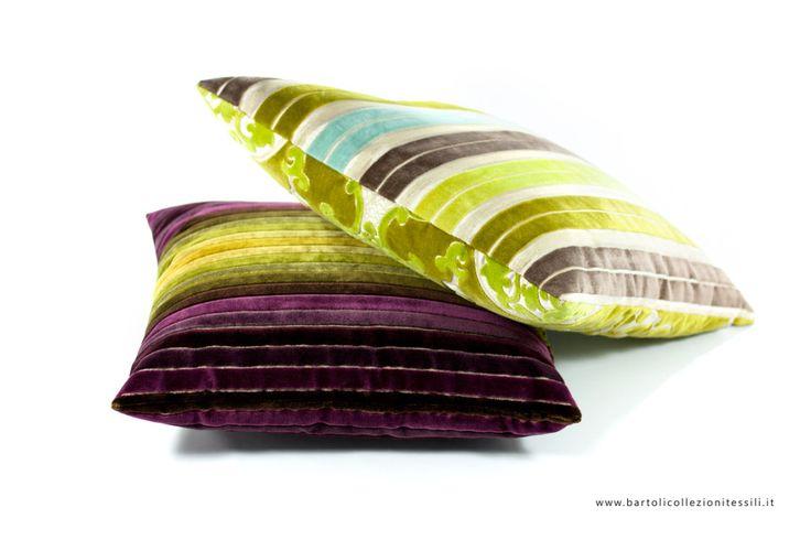 Designers Guild green violet pillow #stripes #textile
