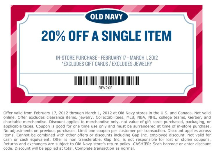 20% off a single item at Old Navy
