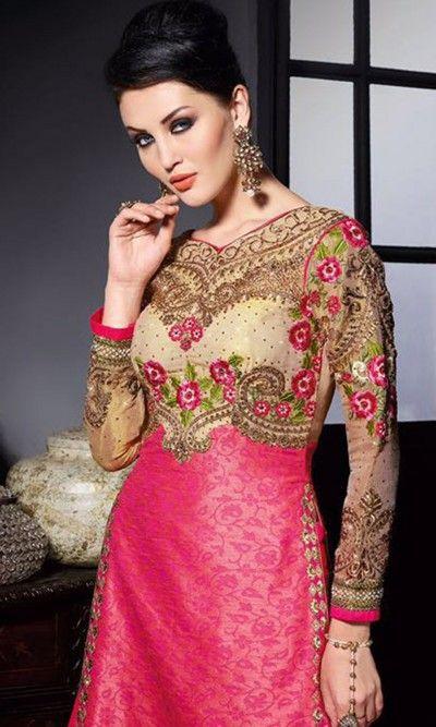 Beige and Magenta Designer Long Anarkali Suit-