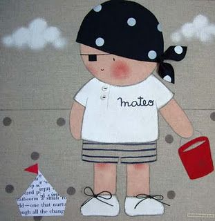 Cuadro infantil personalizado niño pirata para Mateo
