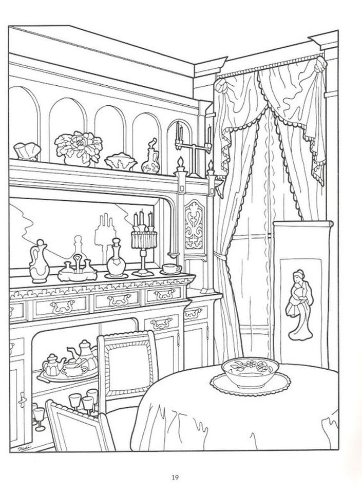 House Room Coloring Page: Dining Room In Victorian House Intricate Coloring Pages