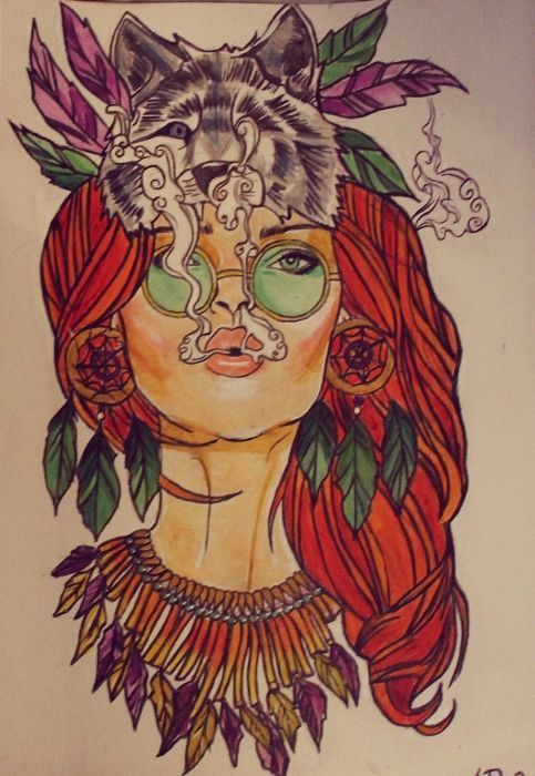 Hippie girl tattoo design. #hippiegirl #tattoodesign | CANNABIS ART | Pinterest