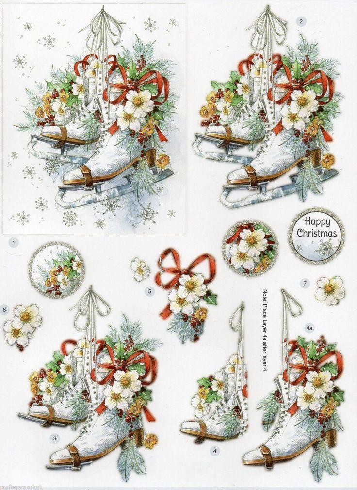 "3D Die Cut Christmas Decoupage ""ICE SKATES"" (DCD614) in"