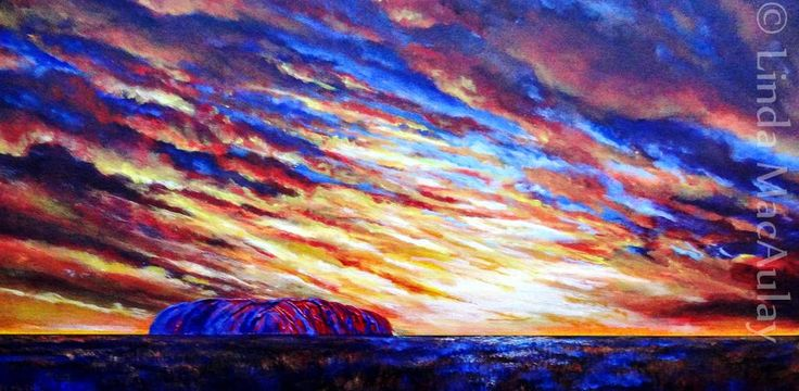 """Uluru Sunrise"" Acrylic painting by Linda MacAulay Artist."