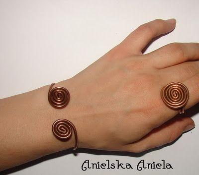 copper set ring and bracelet