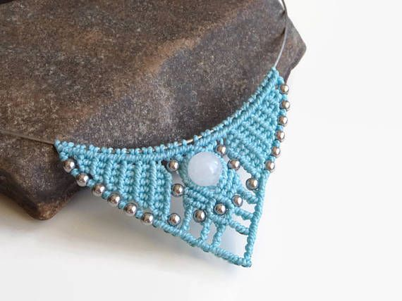 Babyblue statement necklace with semiprecious gemstones micro macrame necklace