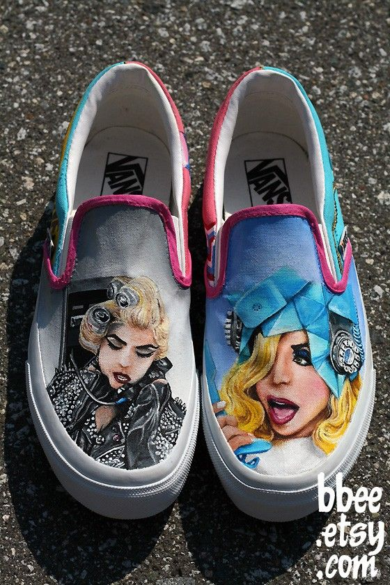 MADE TO ORDER (Any Size) Original Hand Painted Lady Gaga Telephone Shoes