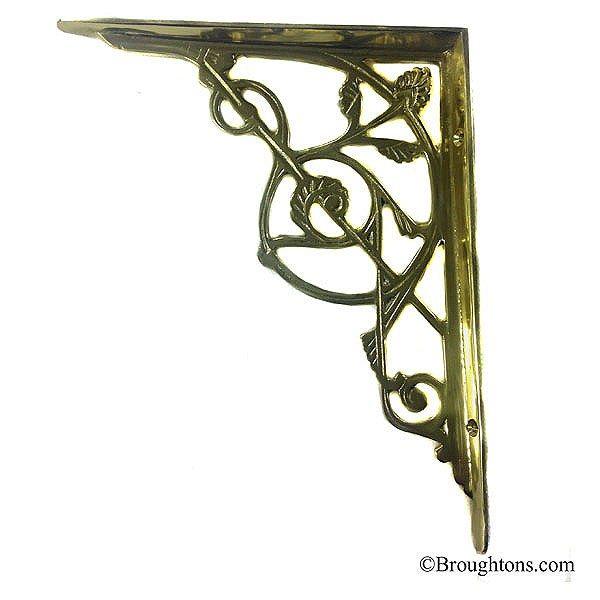trellis large shelf bracket polished brass