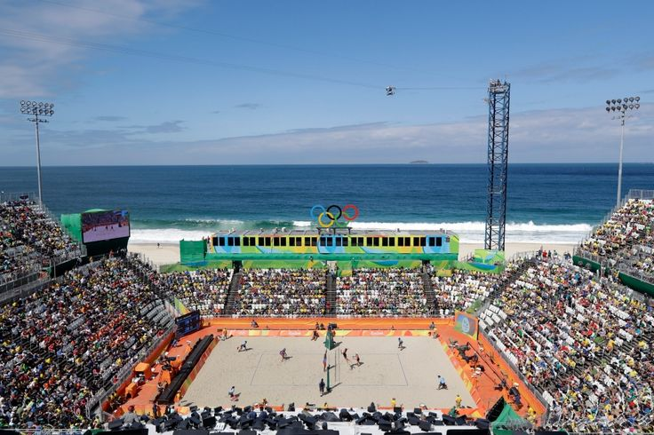 An overall view of the Olympic beach volleyballl arena as Canada plays Cuba during a men's beach volleyball match at the 2016 Summer Olympics in Rio de Janeiro, Brazil, Thursday, Aug. 11, 2016. (AP Photo/Marcio Jose Sanchez