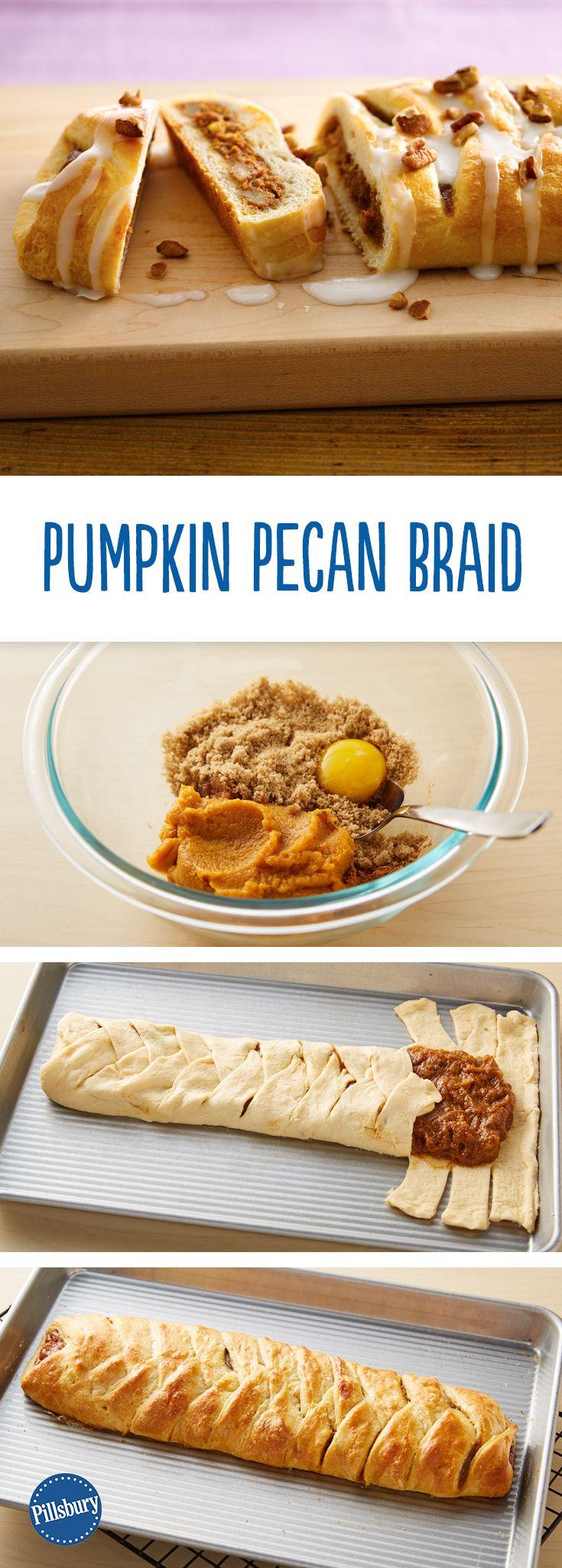 Pumpkin-Pecan Braid: This easy crescent brunch braid is the best excuse to eat pumpkin pie for breakfast.