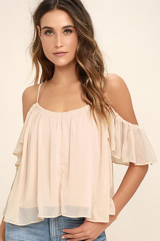 Slip into the Got Me Moving Blush Pink Off-the-Shoulder Top and feel the beat! Adjustable skinny straps support woven poly as it shapes an elasticized off-the-shoulder neckline and fluttering sleeves. Breezy, wide-cut bodice.