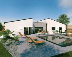 Découvrez les plans de cette un vaste plain-pied original sur www.construiresamaison.com >>> #maison #plan #moderne #construction #architecte #architecture