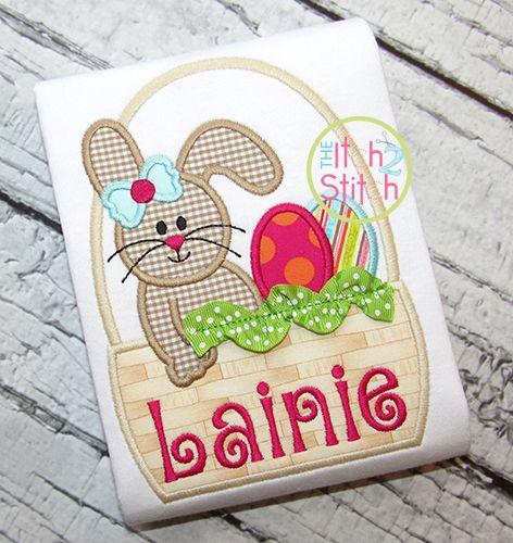 I2S Easter Bunny Basket Girl Applique design