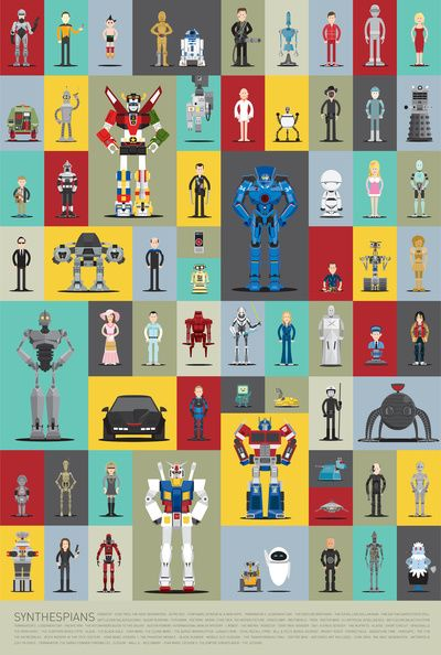 Robot poster by Scott Parks featuring 66 faves. Can you name them all?: Famous Robots, L'Wren Scott, Art, Illustration, Poster, Movie, Design, 66 Famous