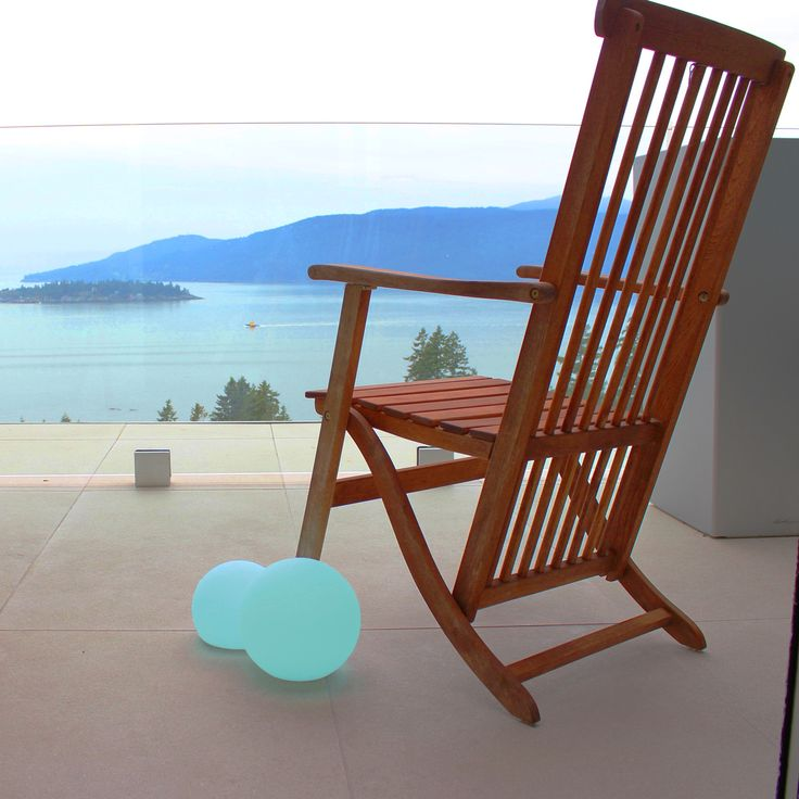 adirondack chair - waterview - Scandinavian modern wirefree lighting - weatherproof, rechargable, RGB color changing lights