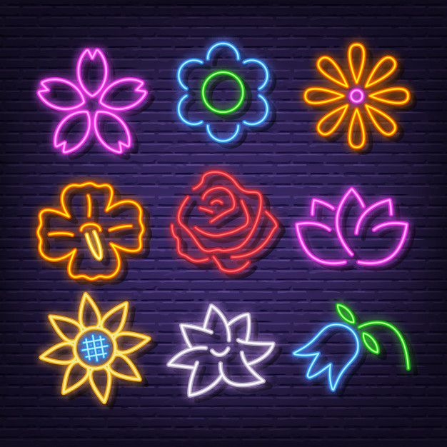 Flower Neon Icons Neon Sign Art Neon Wallpaper Neon Flowers