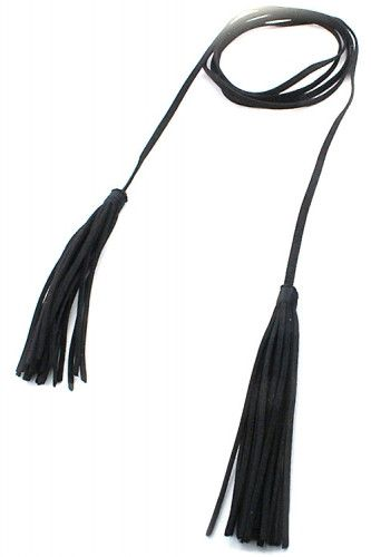 Leather Tassel Double Wrap Choker Necklace - Black